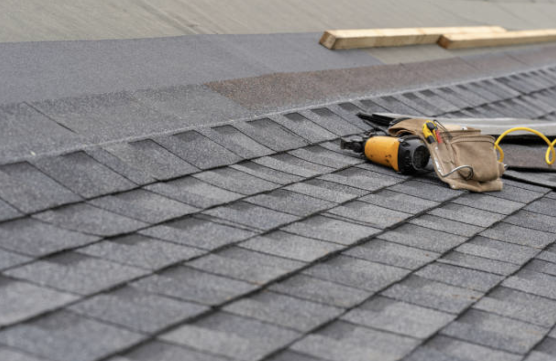 shingles on a commercial roof repair project  Ontario CA